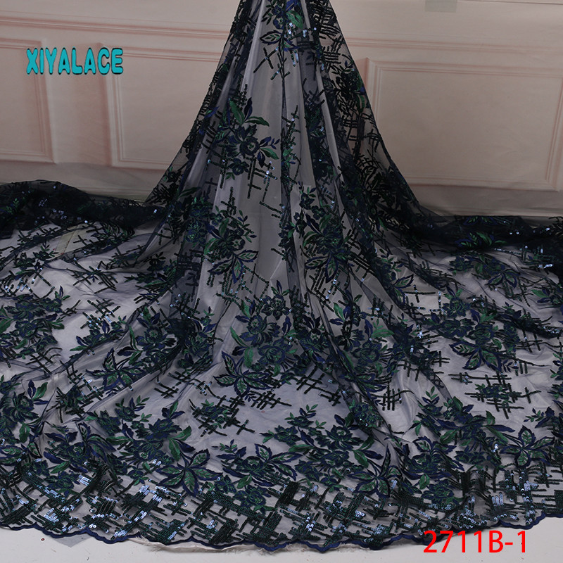 Lace Latest Nigerian Organza Lace Fabrics 2019 High Quality African Sequins Laces Fabric French Tulle Lace Material YA2711B-1