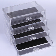 NC 4 Layers Clear Cosmetic Drawers Jewelry Ring Makeup Storage Display Organizer Box Make up Case Container Stand Holder Rack