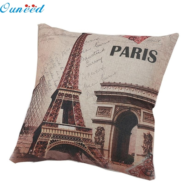 Us 2 95 48 Off Hot Fashion Homey Decorative Linen Square Pillowcase Paris Tower Throw Bolster Pillow Case Waist Dropshipping 18may14 In Cushion