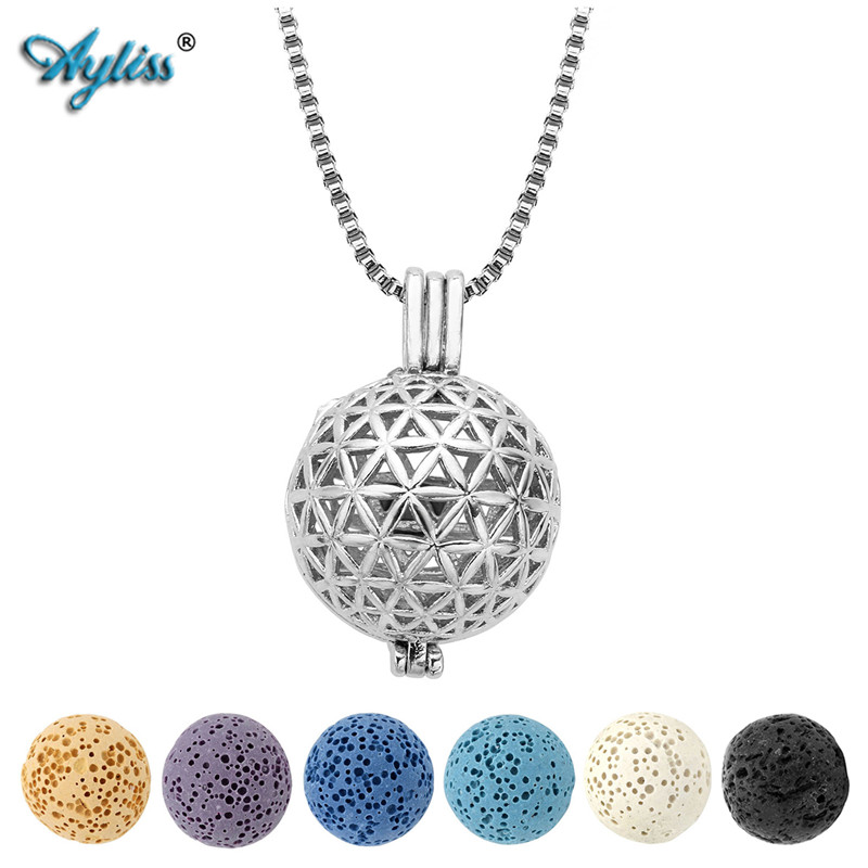 Hollow Aromatherapy Diffuser Locket Pendant Lava Rock Stone Chain Necklace Set