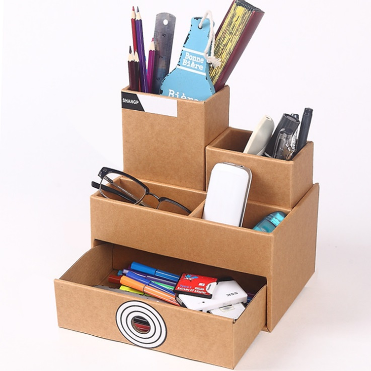 Cardboard Storage Box Pen Holder