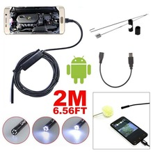 Length 2M 5.5 mm Video Camera 6 LEDs Android USB 1/9 CMOS Endoscope Waterproof Inspection Borescope Video Tube Camera Cable