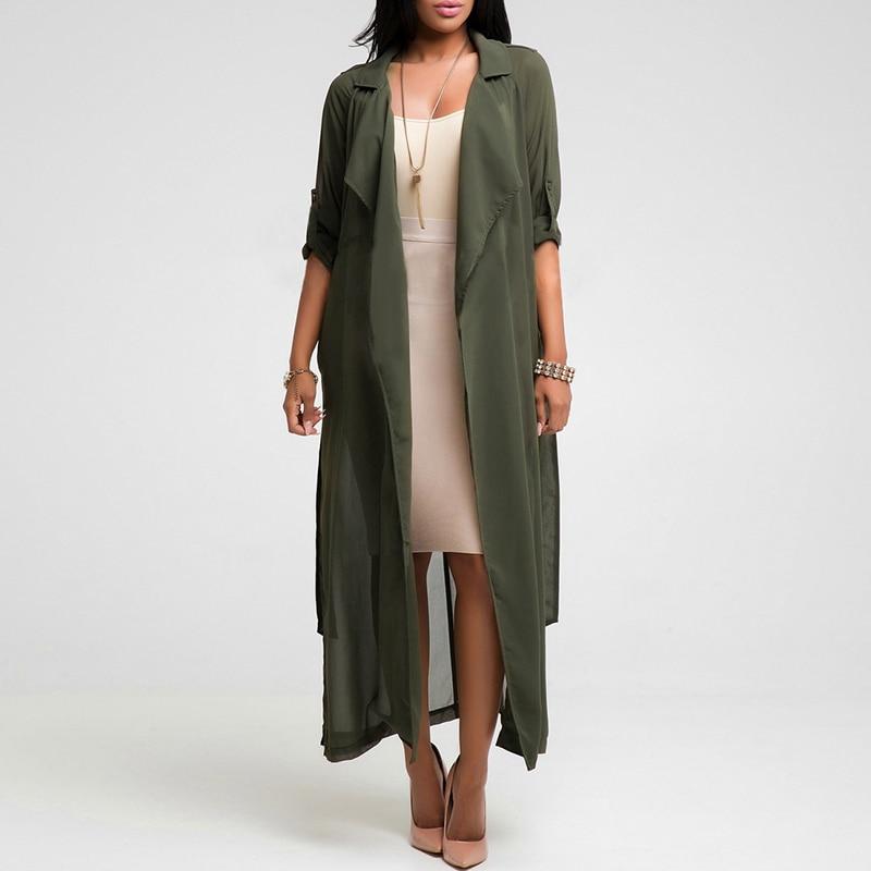 53ec7d869559d Summer Women Long Sleeve Chiffon Cardigan Sexy See-Through Ladies Lapel Long  Jacket Blouse Shirt