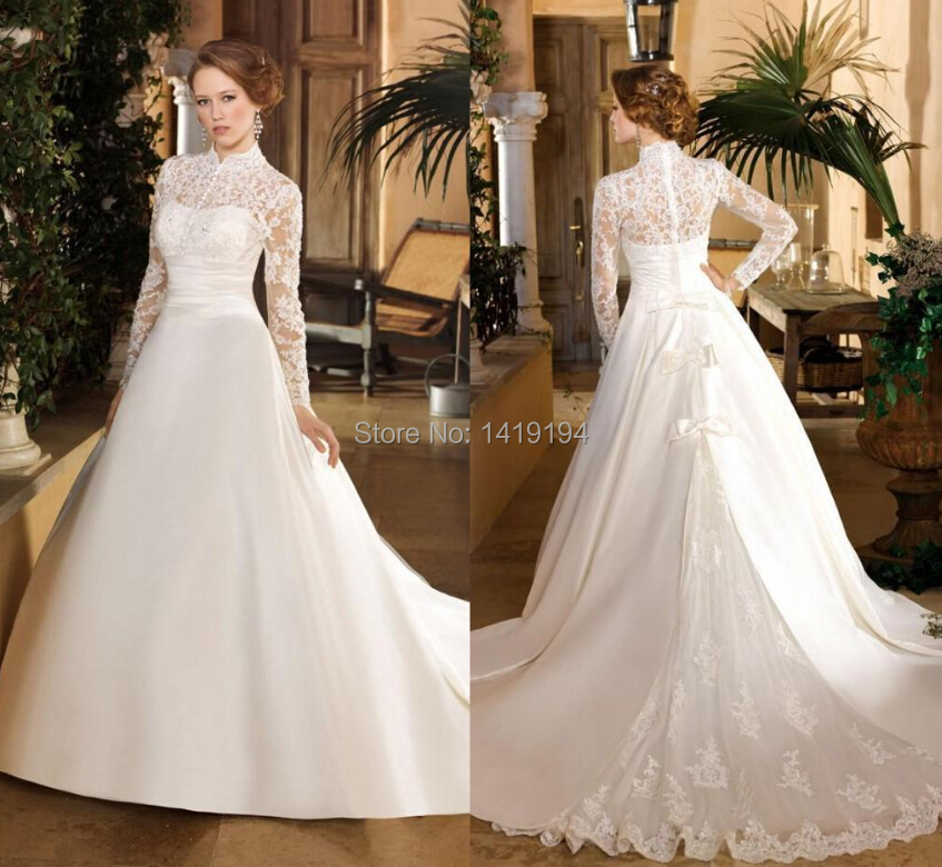 Restoring Ancient Ways Wedding Dress A Line Turtle Neck Long Sleeve Lace Lique Bowknot Trailing Cathedral In Dresses From Weddings