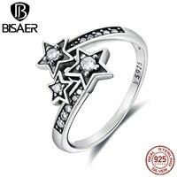 Hot Sale Bohemia 100 925 Sterling Silver Three Irregular Shining Stars Finger Rings Women Engagement Ring