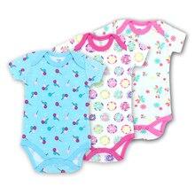 3-Pack Short Sleeve Baby Bodysuits Summer 100% Cotton Fashion print girl Clothing Jumpsuit newborn baby Underwear Clothes Set
