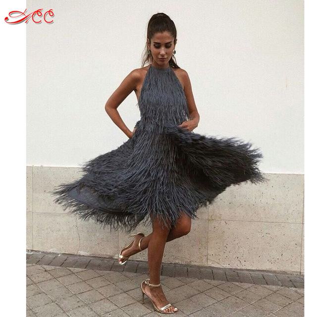 2e260b96fe Sexy backless Hang neck fringed dress 2018 super popular new fairy dress  fashion star models 5 color straps tube top dress S-XL