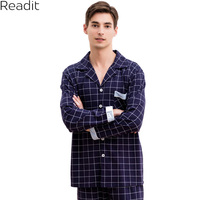 Readit Cotton Winter Sleepwear Men S Pajama Sets Navy Plaid Pijama Male Pajamas Men S Sleepwear