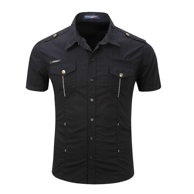 Mens Shirt Solid Short Sleeve Cargo Shirt Summer Style Fashion Casual Cotton Mens Work Shirts Solid