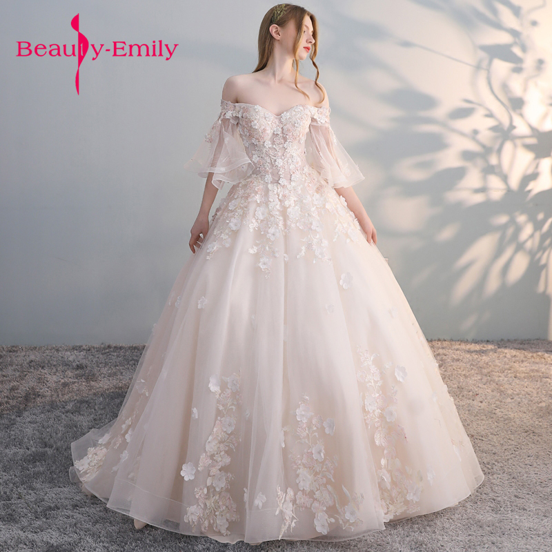 Beauty Emily Luxury Lace Ball Gown Wedding Dresses 2018 Off Shoulder Princess Arabic Muslim Arab Bride Bridal Dress Gown Wedding