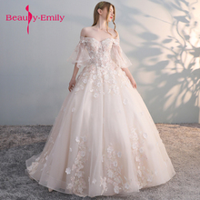 Beauty Emily Luxury Lace Ball Gown Wedding Dresses 2019 Off Shoulder Princess Arabic Muslim Arab Bride Bridal Dress