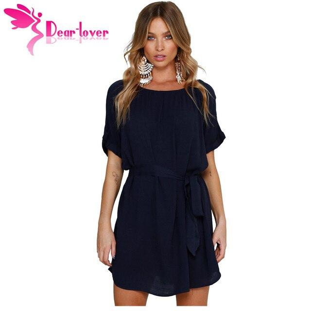 Dear Lover summer 2018 Shirt Dress Navy Round Neck Casual Chic Short  Chiffon Dress with Belt