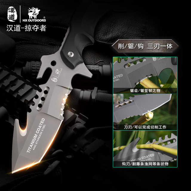 HX OUTDOORS Predator Survival Camping Knife, 440C Hunting Survival Tactical Knife Rescue Hunting Knives with Sheath ,G10+Steel