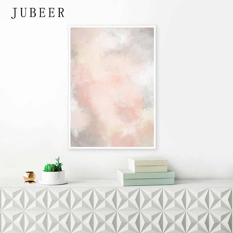 Nordic Style Blush Pink and Grey Posters and Prints Pink Abstract Canvas Painting Extra Large Wall Art Decoration Picture