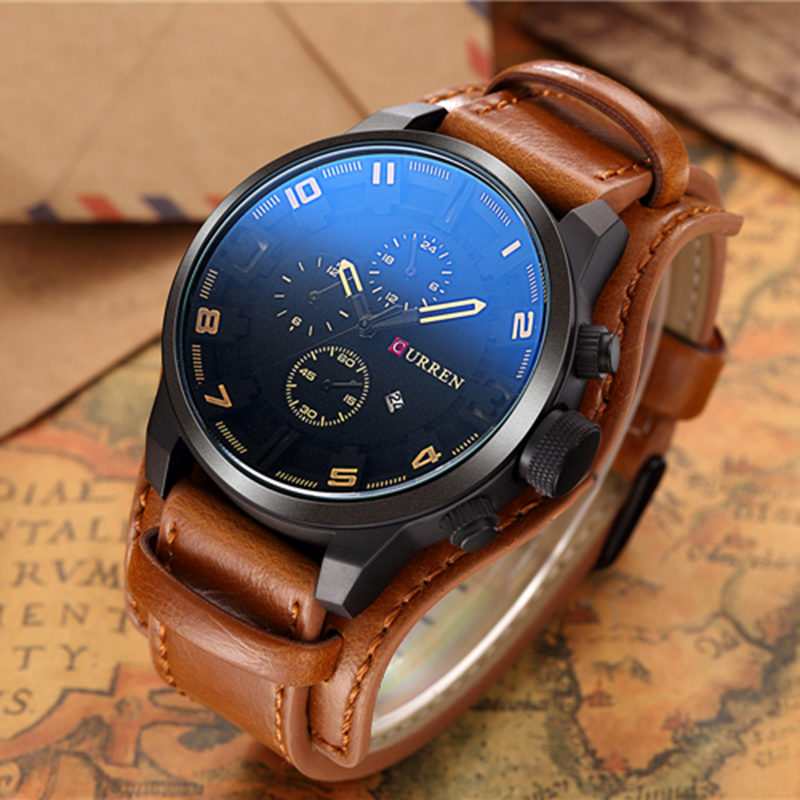 CURREN 8225 Men Military Sport Quartz Watches Mens Brand Luxury Leather Strap Waterproof Male Clock Wristwatch Relogio Masculino 2017 luxury brand wishdiot fashion leather strap multifunction watches men quartz clock waterproof wristwatch relogio masculino