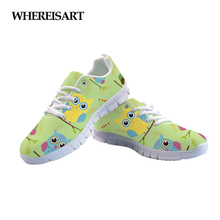 WHEREISART New Cute Owl Women Sneakers Breathable Air Mesh Shoes For Female Summer Outdoor Ladies Flats Buty Damskie Zapatillas