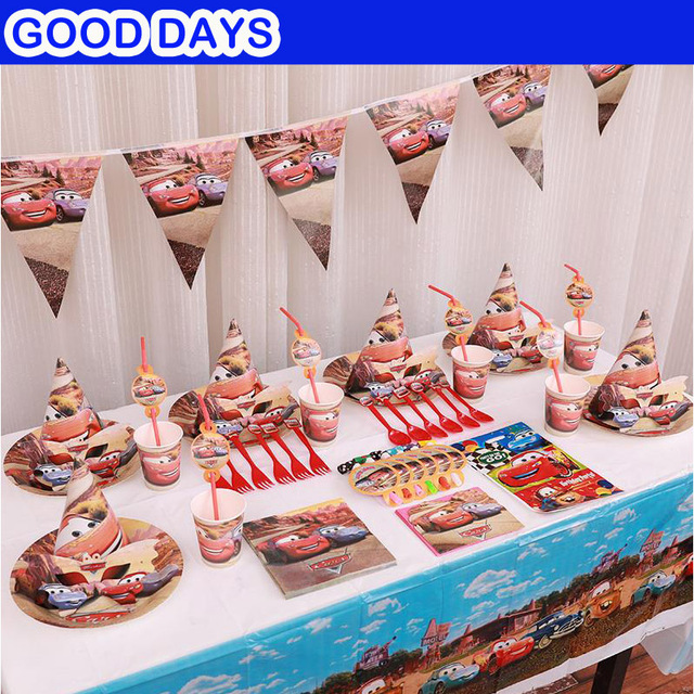 90pcs Set Cars Racing Bus Theme Kids Birthday Party Decoration Supplies Baby Pack Event