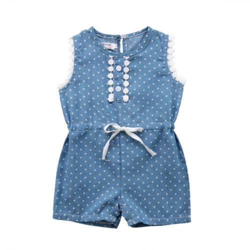 Infant Baby Girl Kids Lace Sleeveless Romper Jumpsuit Short Trousers Toddler Girls Summer Dot Princess Rompers Playsuit Overalls
