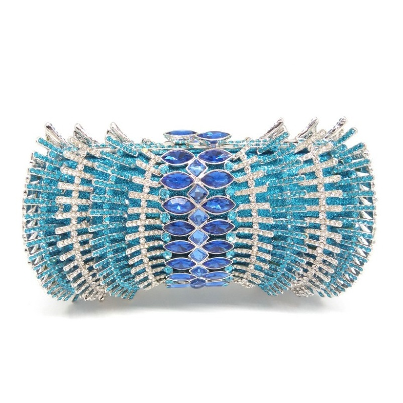 Wedding Bridal Hollow Out Silver Plated Light Blue Gliter Crystal Clutch Bags Women Hard Metal Rhinestones Evening Clutches