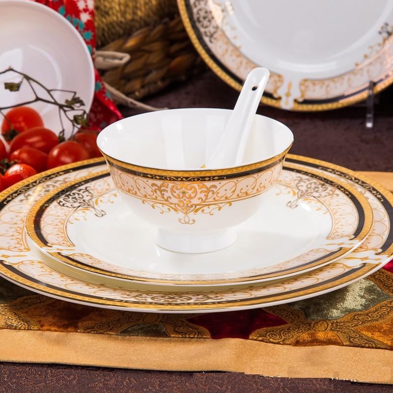 Korean Style Luxury Bone China Full Set Dinnerware Gold Edge Soup Rice Bowl Dinner Plate Restaurant Tableware Christmas Gift-in Dinnerware Sets from Home ... & Korean Style Luxury Bone China Full Set Dinnerware Gold Edge Soup ...