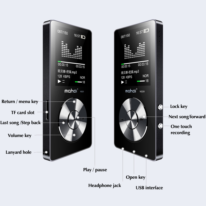 16GB MP4 Music Player with Out Speaker High Quality Sound Support FM Radio, Txt E-books, Recorder, Supports Micro Card 128GB Max