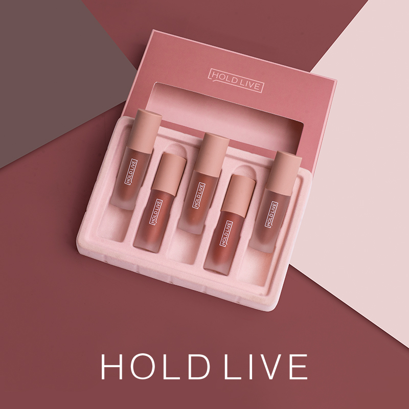Novo 5 pçs segure ao vivo matte gloss labial conjunto hidratante à prova dwaterproof água glitter lipgloss lábio matiz veludo batom líquido kit de maquiagem coreano