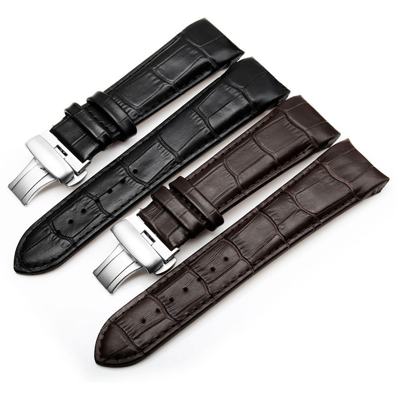 Men Genuine Leather High Quality Watch Strap black brown Only For Tissot T035 24mm 23mm 22mm Butterfly clasp Watch accessories curved end genuine leather watchband for tissot 1853 watch band butterfly clasp strap wrist bracelet black brown 22mm 23mm 24mm