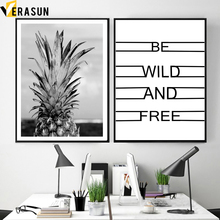цена на Modern Black White Pineapple Quote Nordic Posters And Prints Wall Art Canvas Painting Wall Pictures For Living Room Home Decor