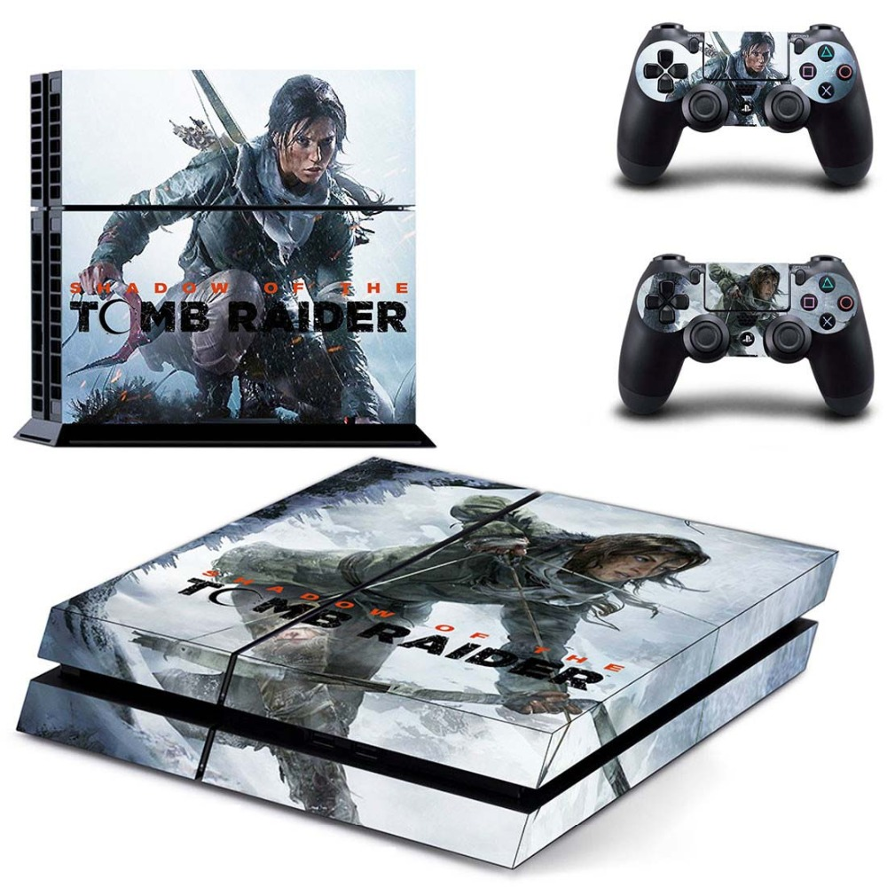 Shadow of the Tomb Raider PS4 Console & Controller Autoadesivi Della Decalcomania Della Pelle per Sony PlayStation 4 Console e Due Controller di