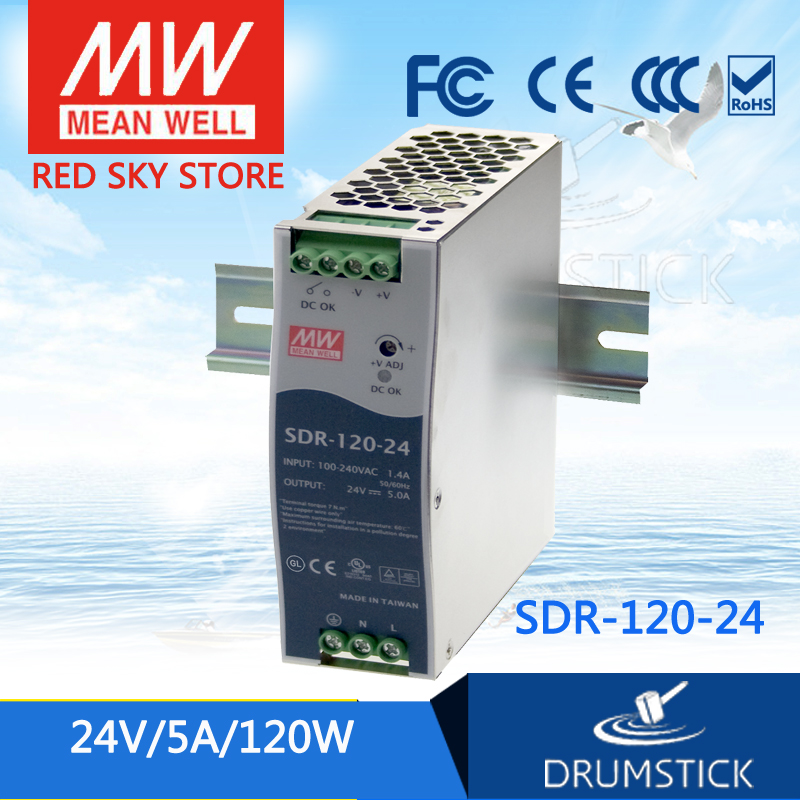 MEAN WELL SDR-120-24 24V 5A SDR-120 24V 120W Single Output Industrial DIN RAIL with PFC FunctionMEAN WELL SDR-120-24 24V 5A SDR-120 24V 120W Single Output Industrial DIN RAIL with PFC Function