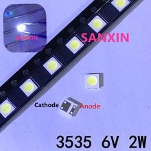 2W 6V 3535 TV retroiluminación LED diodos SMD blanco retroiluminación LCD TV Televisao TV retroiluminada lámpara de diodo de reparación de aplicación 1000 Uds