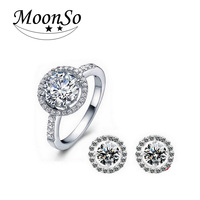Two Gift Real 925 Sterling Silver Engagement Wedding Bridal Jewelry Sets For Brides Ring And Earring