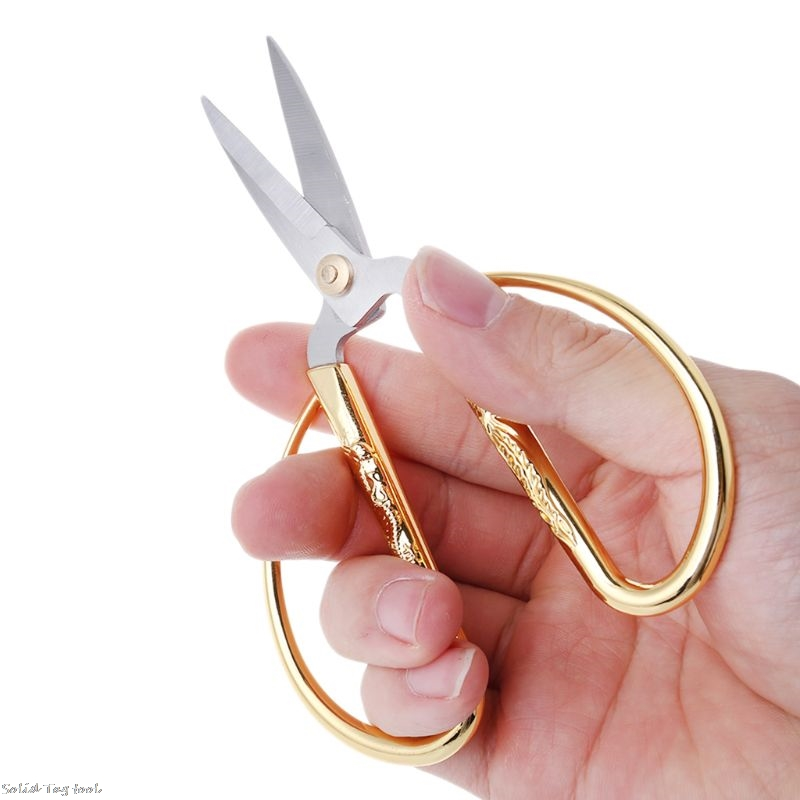 Carved Gold Tone Dragon Metal Handle Bonsai Scissors Stainless Steel Bonsai Scissor Hand Tool Cutting Tools For Kitchen Home