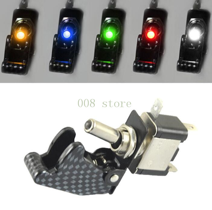 2017 New 12V 20A Illuminated LED Toggle Switch Control ON/OFF + Aircraft Missile Style Flip Up Cover TG 3x 12v switch car racing on off aircraft type red led toggle switch control red flip cover low price