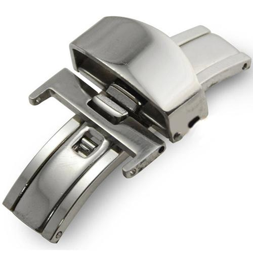 Automatic Double Click Butterfly Buckle Watch Push Button Fold Deployment Clasp Silver Watchband Strap 16/18/20mm