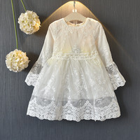 6e5659bc815328 Teenmiro 2019 Spring Girls Vintage Lace Dress Kids Long Sleeve Ivory Silver  Gowns Child Princess Clothing