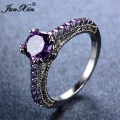 JUNXIN Fashion Small Purple Amethyst Round Ring Love Jewelry White Gold Ring Wedding Rings For Men And Women Christmas Gift