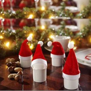 10pcs Christmas hat & Christmas Cap On Bottle Santa Gift Red New Year Decoration for Home Party Supplier 39%