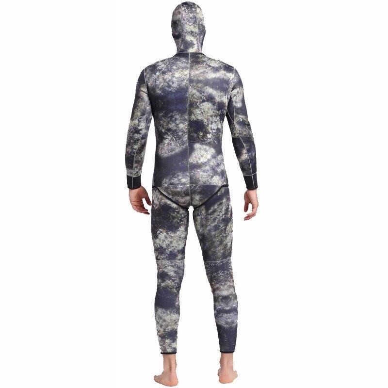 5mm Neopreen Twee Stuks Volledige Pak Mannen Plus Size Duiken Wetsuit Warm Houden Blind Stiksels Jumpsuit Surfen Pak Camouflage groene h2 - 3