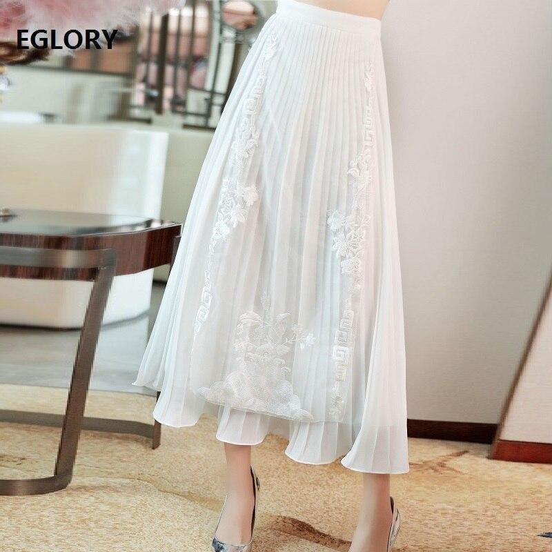 Высокое качество юбки 2019 Весна Лето Мода белый розовый юбка женская люрекс вышивка по щиколотку винтажные юбки плюс размер - 2