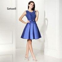 Setwell королевские синие кружевные платья для возвращения домой 2017 Иллюзия сзади длиной до колена высокое качество выпускное платье на заказ