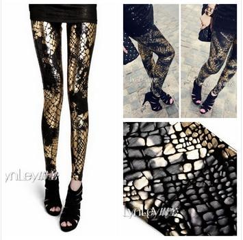 New 2018 Sexy European Punk Gothic Snake Splash Ink Gradient Plus Size Women Clothing Shiny Black White Leggings Leather Pants 1