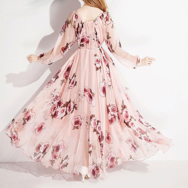 Floral Plage Robe Femmes Maxi Loose Fit Soie Longues Maternité À Manches Mousseline De D'honneur Demoiselle 2018 En 81Aqzz
