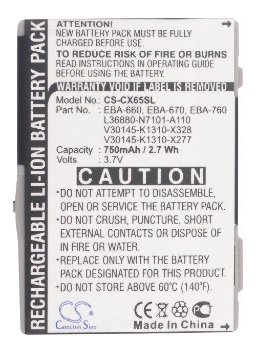 Cameron Sino 750 mAh Batterie EBA-660, EBA-670 pour Siemens A31, A58, AX72, AX75 NOM DU PRODUIT, C65, C65v, C66, C70, C71, C72, C75, C81, CF62, CF62T, CF63, CF65