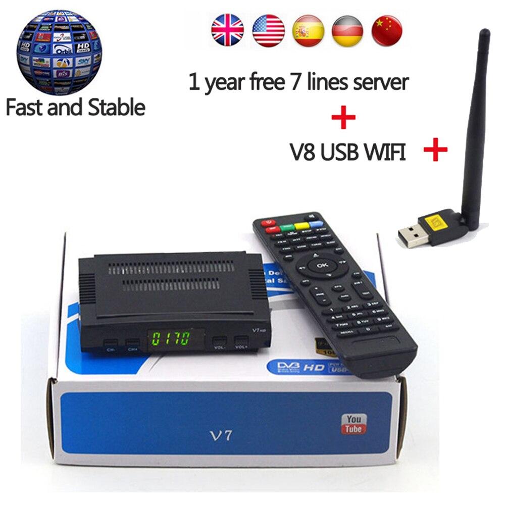V7 HD DVB-S2 Satellitenfernsehen-empfänger mit 1 Jahr Europa 7 linien Server und 1 STÜCK USB WIFi Unterstützung PowerVu Biss Schlüssel 3G Dongle