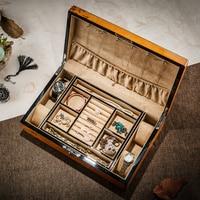 Big Jewelry Box Multilayers Large Capacity Luxury Retro Solid Wood Storage Jewelry Box Velvet Lining 4Grids Watch Organizer Box