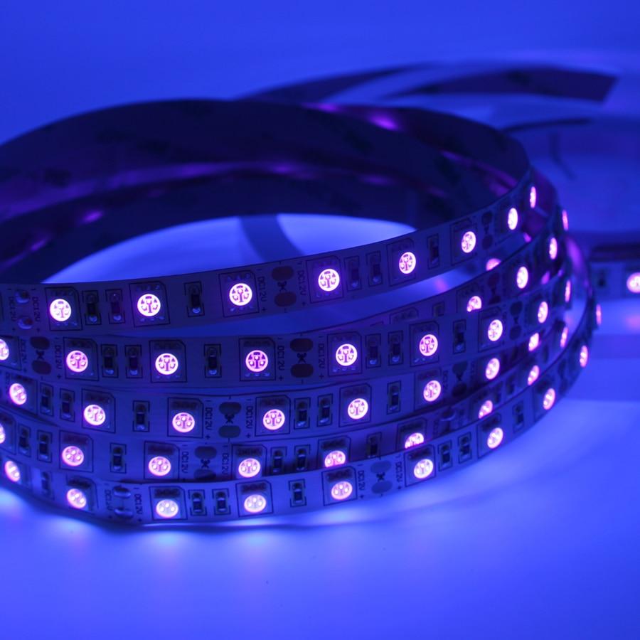 HTB1gaBoosLJ8KJjy0Fnq6AFDpXaN UV Led Strip light 5050 SMD 60leds/m 395-405nm Ultraviolet Ray LED Diode Ribbon Purple Flexible Tape lamp for DJ Fluorescence