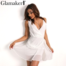 Glamaker Wrap irregular boho summer dress women Sexy deep v neck sundress Dot short beach dress club party vestidos