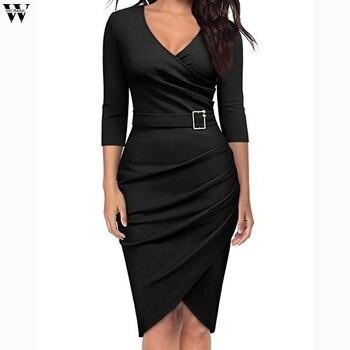 Μακρυμάνικο ντραπέ φόρεμα Φορέματα Ρούχα MSOW