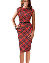 Maxi Elegant Office Dress With Sashes Formal Pencil Dress Plaid Sleeveless  O-Neck Classic Work Bodycon Dresses Causal A1061 70c51ad41dcd